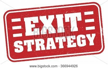 Red Grungy Exit Strategy Rubber Stamp Print Or Sign Vector Illustration, Strategy To Exit Covid-19 L