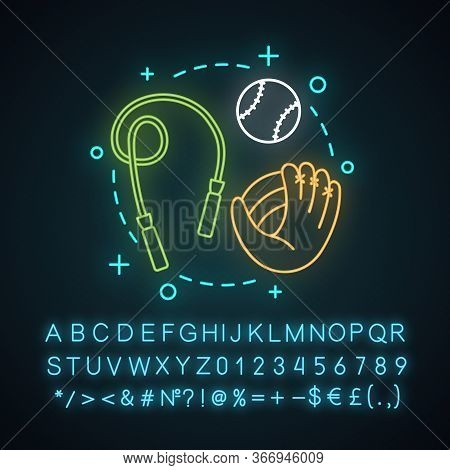 Outdoor Activities Neon Light Concept Icon. Sports. Leisure Time Idea. Afterschool Pass Time. Health