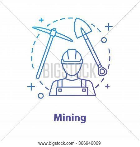 Mining Industry Concept Icon. Minerals Extraction Idea Thin Line Illustration. Miner, Shovel, Pickax