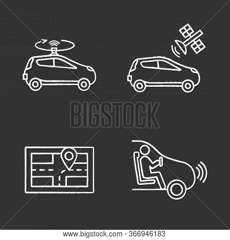 Autonomous Car Chalk Icons Set. Lidar, Auto With Satellite Control, Gps Navigator, Self-driving Car.