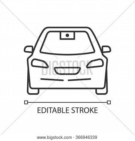 Autonomous Car With Video Camera Linear Icon. Smart Car Front View. Intelligent Auto. Thin Line Illu