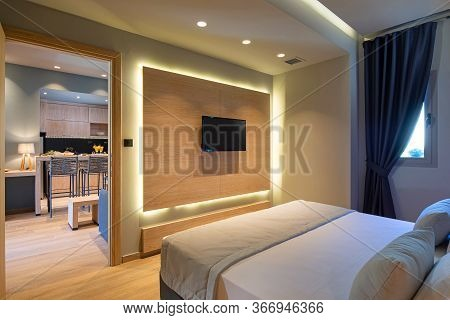 Modern Grey, Blue, Wooden Bedroom In Small Studio Apartment. Contemporary Minimalistic Interior Of H