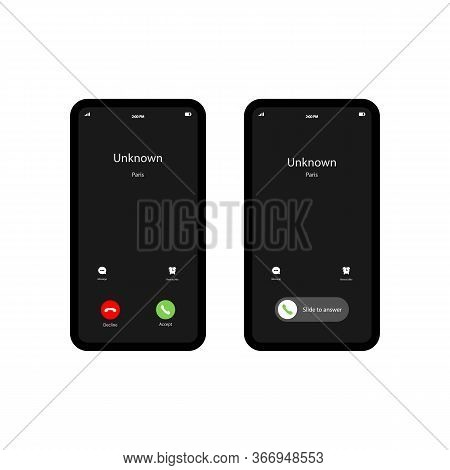 Mobile Call Screnn Template. Incoming Phone Call. The Smartphone Icon Flat On An Isolated White Back