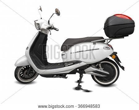 Electric City Scooter, Urban Kick Bike Isolated On White. Street Motorbike On Business Transportatio