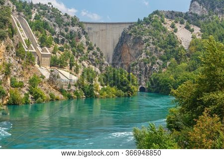 Side, Turkey, July 30, 2019: Dam On The Manavgat River Near The City Of Side In Turkey