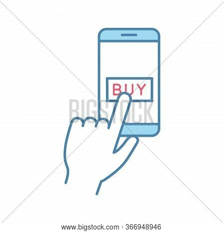 Online Payment Per Click Color Icon. E-payment. Digital Purchase. Cashless Payments Smartphone App.
