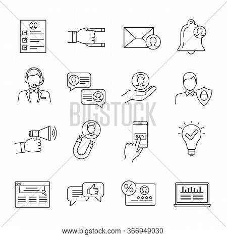 Customer Retention And Loyalty Linear Icons Set. Clients Care Service. Customers Attraction. Increas