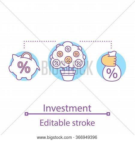 Investment Concept Icon. Roi Idea Thin Line Illustration. Venture Capital. Savings. Profit Growth. D