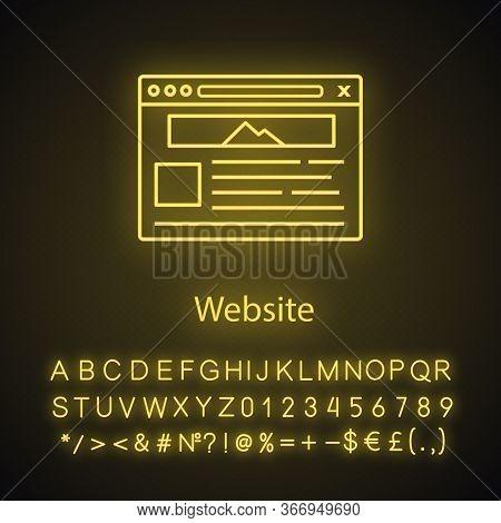 Website Neon Light Icon. Web Page. Web Browser Interface. Internet Marketing. Social Media, Internet