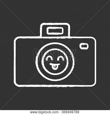 Smiling Photo Camera Chalk Icon. Easy Photographing. Happy Photo Camera. Emoji, Emoticon. Isolated V