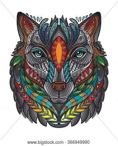 Vector Decorative Doodle Ornamental Head Of Wolf. Abstract Vector Colorful Illustration Of Wolf Head