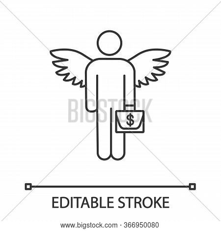 Angel Investor Linear Icon. Business Angel. Thin Line Illustration. Informal Investor. Investment. F