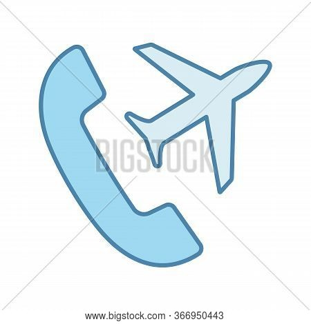 International Roaming Color Icon. Flight Mode. Handset With Plane. Isolated Vector Illustration