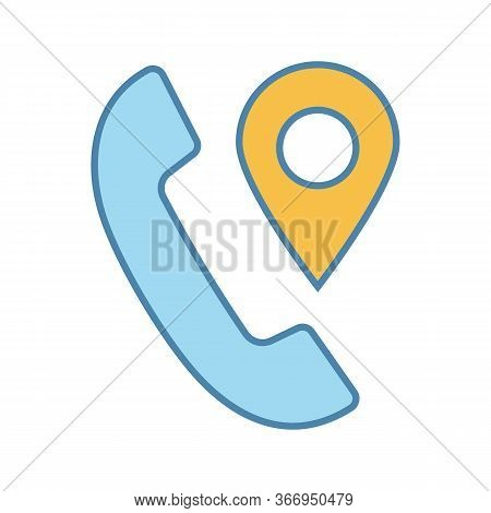 Calls Tracking Color Icon. Incoming Call Location Tracker. Handset With Map Pinpoint. Phone Tracker.