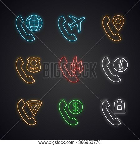 Phone Services Neon Light Icons Set. Calls Abroad, Roaming, Phone Tracking, Call The Police, Hotline