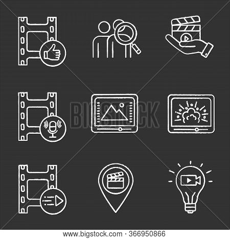 Film Industry Chalk Icons Set. Post Production, Audience, Movie Release, Sound Record, Color Correct