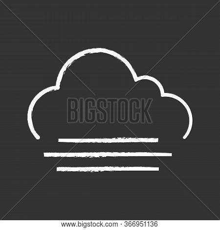 Fog Chalk Icon. Foggy Weather. Smog. Weather Forecast. Isolated Vector Chalkboard Illustration