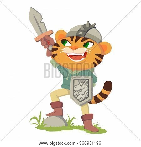 Tiger With A Sword, Shield And Helmet. Cat In A Costume Of A Medieval Warrior, Knight. Fairy Tale Ch