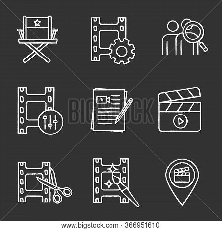 Film Industry Chalk Icons Set. Video Settings, Director S Chair, Audience Research, Sound Mixer, Mov