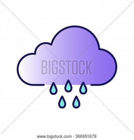 Rain Color Icon. Pour Rain. Rainy Weather. Cloudburst, Downpour. Weather Forecast. Isolated Vector I