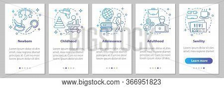 Human Lifecycle Onboarding Mobile App Page Screen With Linear Concepts. Newborn, Childhood, Adolesce