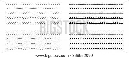 Zigzag Classic Doodle Pattern Set. Thin Isolated Line Vector