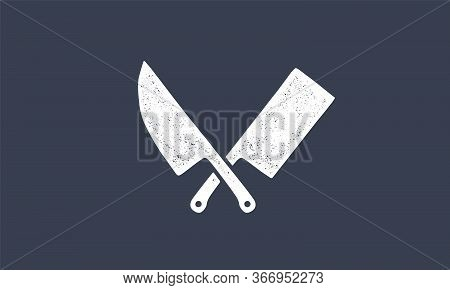 Set Of Butcher Knives Icons. Silhouette Two Butcher Knives - Cleaver And Chef Knives. Logo Template
