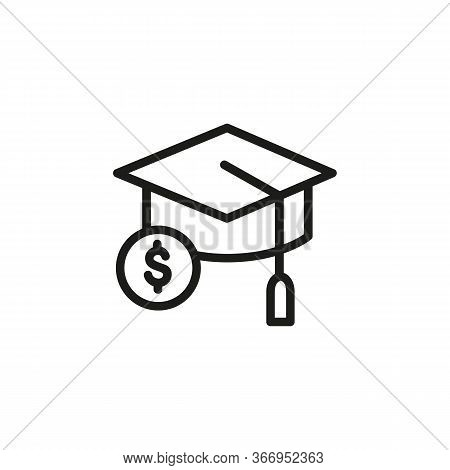 Line Icon Of Mortarboard And Dollar Sign. Scholarship, Sponsored Education, Investment In Education.
