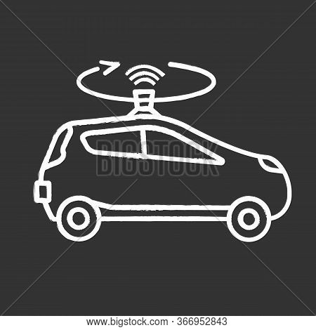 Autonomous Car With Lidar Chalk Icon. Smart Car With Roof Sensor Or Camera. Intelligent Auto With Au
