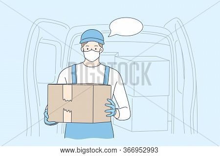 Delivery, Quarantine, Covid19, Coronavirus, Infection Concept. Young Man Or Boy Supplier In Medical