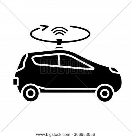 Autonomous Car With Lidar Glyph Icon. Smart Car With Roof Sensor Or Camera. Intelligent Auto With Au