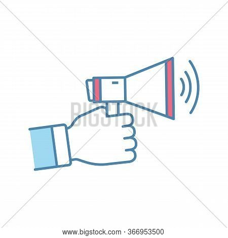 Marketing Color Icon. Announcement. Customers Attraction. Advertising Campaign. Hand Holding Megapho