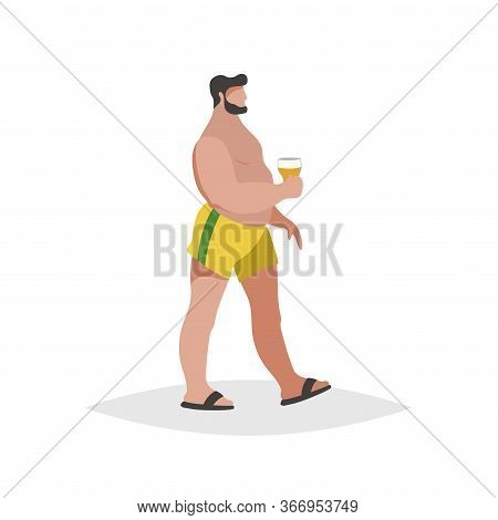 Flat Cartoon Overweight  Chubby Man On The Beach. Wearing Yellow Shorts And Black Flip Flops, Holdin