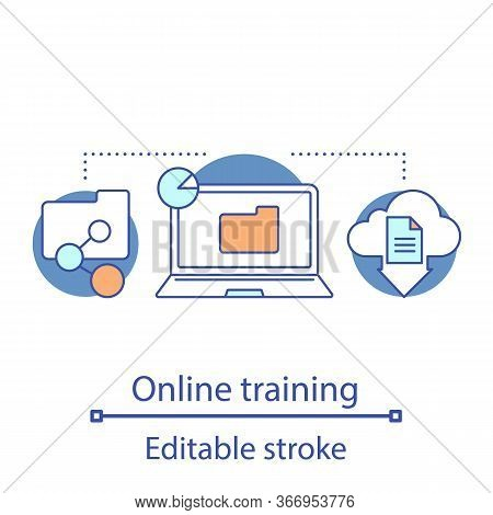 Online Training Concept Icon. E-learning. File Manager Idea Thin Line Illustration. Cloud Computing.