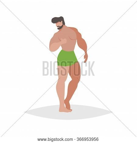 Athletic Guys Posing On The Beach. Flat Trendy Design Illustration Of Bearded Man In Green Boxers. V