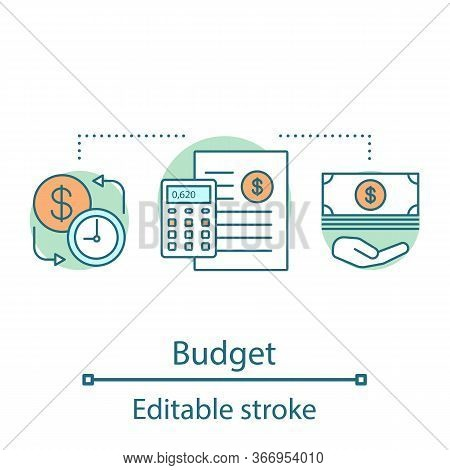 Financial Planning Concept Icon. Budgeting. Funding And Financing Idea Thin Line Illustration. Finan