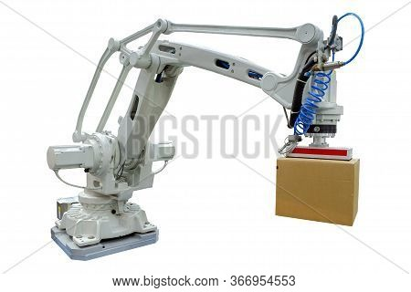 Industry Robotic With Gripping Arm For Grip Carton Goods Package For Work On Industrial Logistic On