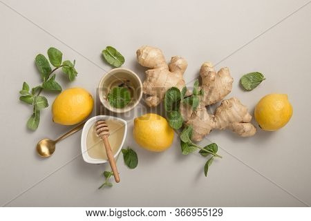 Tea. Ginger Lemon Tea With Honey. Warming Immune Boosting Tea With Lemon And Ginger. Cup, Teapot, Gi