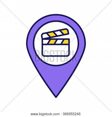 Film Locations Color Icon. Movie Map. Movie Theater Location. Film Producing Places. Map Pinpoint Wi
