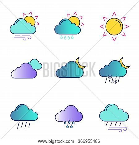 Weather Forecast Color Icons Set. Partly Cloudy And Windy Weather, Drizzle Rain, Sun, Clouds, Night,