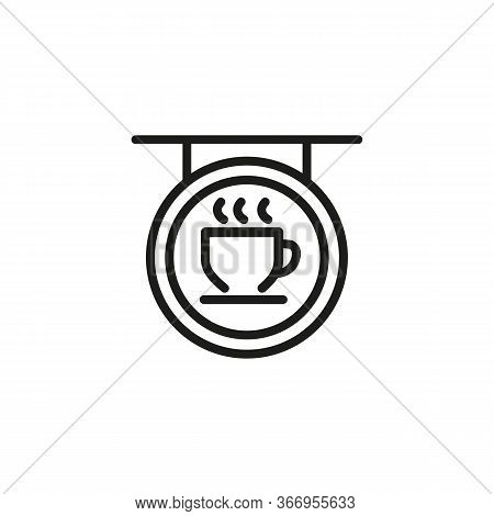 Line Icon Of Signboard With Coffee Cup. Coffee Shop, Cafe, Confectionary. Coffee Concept. Can Be Use