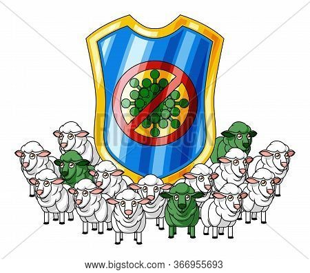 Conceptual illustration about flock immunity with cartoon sheep herd (with few green infected sheep) and a shield with the image of a banned virus.