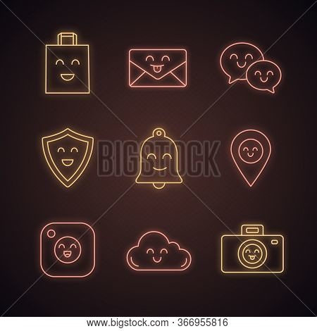 Smiling Items Neon Light Icons Set. Happy Shopping Bag, Letter, Speech Bubbles, Shield, Bell, Map Pi