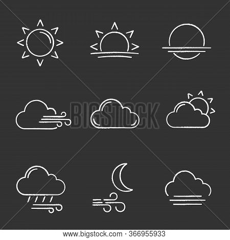 Weather Forecast Chalk Icons Set. Sun, Sunrise, Sunset, Wind, Cloud, Partly Cloudy Weather, Pouring
