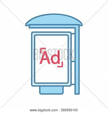 Bus Stop Advertisement Color Icon. Outdoor Advertising. Bus Shelter Ads. Advertising Street Lightbox