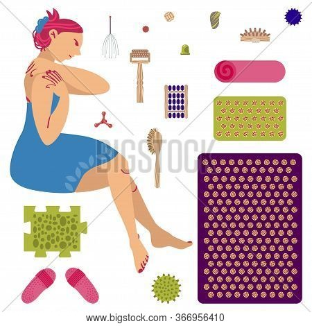 The Girl Does Self-massage. A Set Of Massagers And Applicators For Massage And Self-massage. Vector