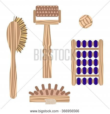 A Set Of Massage Applicators In A Wooden Case For Massage And Self-massage. Vector Illustration.