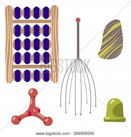 A Set Of Massage Applicators For Massage And Self-massage. Vector Illustration.