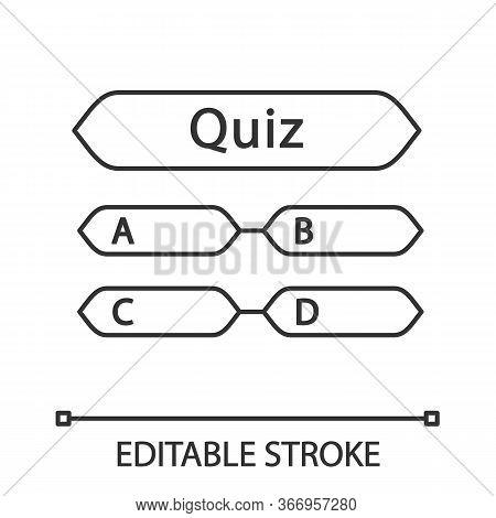 Quiz Question Linear Icon. Intellectual Game. Thin Line Illustration. Trivia Contest. Set Of Questio