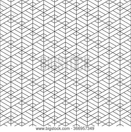 Seamless Geometric Pattern Inspired By Japanese Kumiko Ornament.black And White Silhouette With Aver